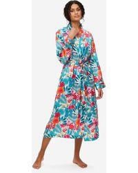 Derek Rose Mid Length Dressing Gown Brindisi 66 Pure Silk Satin - White