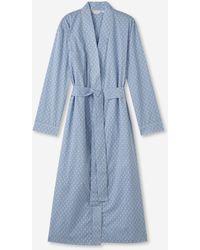 Derek Rose Mid Dressing Gown Nelson 82 Cotton Batiste - Blue