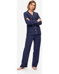 Derek Rose Pajamas Balmoral 3 Brushed Cotton - Blue