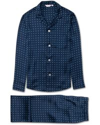 Derek Rose Modern Fit Piped Pajamas Brindisi 52 Pure Silk Satin Navy - Blue