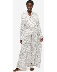 Derek Rose Full Length Dressing Gown Brindisi 59 Pure Silk Satin - White