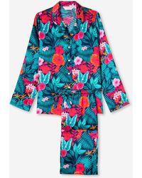 Derek Rose Pyjamas Brindisi 66 Pure Silk Satin - Blue