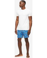 Derek Rose Lounge Shorts Ledbury 45 Cotton Batiste - Blue