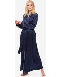 Derek Rose Full Length Robe Bailey Pure Silk Satin - Blue