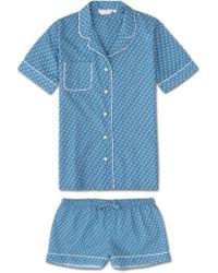 Derek Rose Shortie Pajamas Ledbury 16 Cotton Batiste Blue