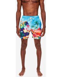Derek Rose Classic Fit Swim Shorts Oahu 4 Multi - Blue