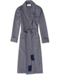 Derek Rose Tasselled Belt Dressing Gown Lincoln 11 Pure Herringbone Wool Navy - Blue