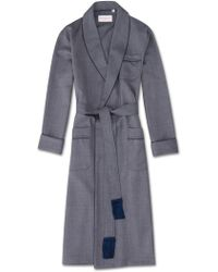 Derek Rose Tasseled Belt Dressing Gown Lincoln 11 Pure Herringbone Wool Navy - Blue