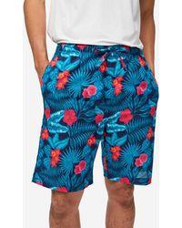 Derek Rose Lounge Shorts Ledbury 43 Cotton Batiste Navy - Blue