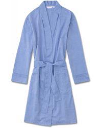 Derek Rose Dressing Gown Amalfi Cotton Batiste Blue
