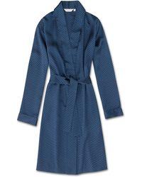 Derek Rose Dressing Gown Brindisi 26 Pure Silk Satin - Blue