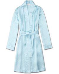 Derek Rose Dressing Gown Brindisi 54 Pure Silk Satin - Blue