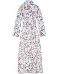 Derek Rose Full Length Dressing Gown Brindisi 29 Pure Silk Satin - Blue