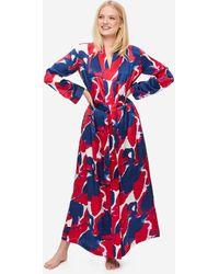 Derek Rose Full Length Dressing Gown Brindisi 61 Pure Silk Satin - Red
