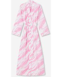 Derek Rose Full Length Dressing Gown Ledbury 38 Cotton Batiste - Pink
