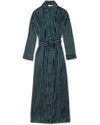 Derek Rose Full Length Dressing Gown Brindisi 55 Pure Silk - Green