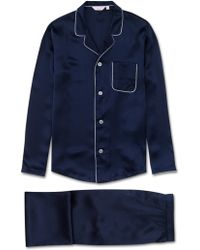 Derek Rose Modern Fit Piped Pyjamas Bailey Pure Silk Satin Navy - Blue