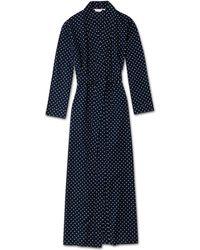 Derek Rose Full Length Dressing Gown Plaza 60 Cotton Batiste Navy - Blue