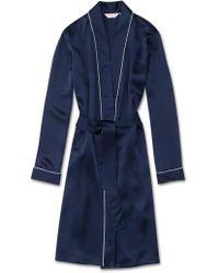 Derek Rose Dressing Gown Bailey Pure Silk Satin Navy - Blue
