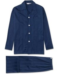 Derek Rose Classic Fit Pyjamas Lingfield Pure Cotton Satin Stripe Navy - Blue