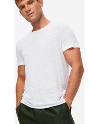 Derek Rose Linen Short Sleeve T-shirt Jordan Pure Linen - White
