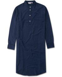Derek Rose - Pullover Nightshirt Balmoral 3 Brushed Cotton Navy - Lyst