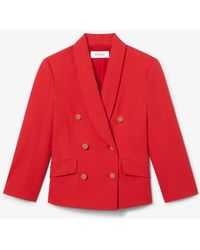 10 Crosby Derek Lam Myra Double Breasted Cropped Crosby Cotton Twill Blazer - Red