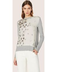 Derek Lam - Long Sleeve Mixed Print Crewneck Sweater - Lyst