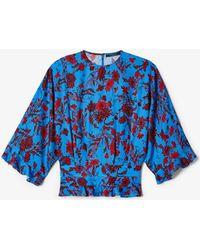 Derek Lam Short-sleeve Nightshade Floral Blouse - Blue