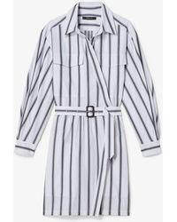 Derek Lam - Long Sleeve Asymmetrical Bold Striped Placket Shirt Dress - Lyst