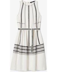 Derek Lam Sleeveless Embroidered Georgette Cocoon Dress - White