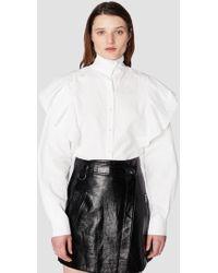 10 Crosby Derek Lam - Long Sleeve Ruffle Shoulder Shirt - Lyst