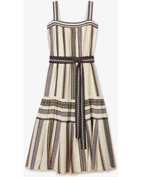 Derek Lam Lace Inset Provincal Striped Tank Dress With Pleated Hem - White