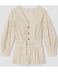 10 Crosby Derek Lam - Marigold Multi Striped Belted Bell Sleeve Romper - Lyst
