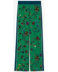 10 Crosby Derek Lam Botanical Print Track Pant With Side Snap Detail - Green
