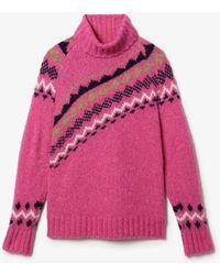 10 Crosby Derek Lam Diagonal Fair Isle Alpaca Turtleneck Sweater - Pink