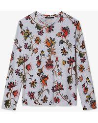 Derek Lam Indian Floral Long Sleeve Oversize Printed Tee - Gray