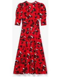Derek Lam Floating Floral Puff Sleeve Midi Dress - Red