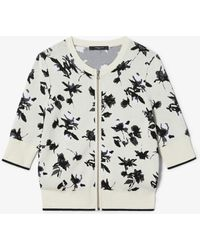 Derek Lam Floral Jacquard Knit Cardigan With Zipper - White