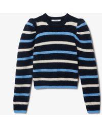 10 Crosby Derek Lam Brushed Baby Alpaca Striped Puff Sleeve Sweater - Blue