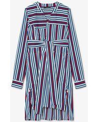 Derek Lam Long-sleeve Belted Striped Shirtdress - Blue
