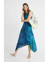 Desigual Vestito lungo svasato asimmetrico - Blu