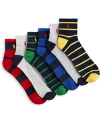 Polo Ralph Lauren Big & Tall 6-pk Stripe Solid 1 4-top Socks - Blue