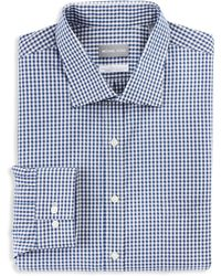 Michael Kors Big & Tall Check Stretch Dress Shirt - Blue
