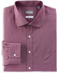 Michael Kors Big & Tall Textured Dot Stretch Dress Shirt - Purple