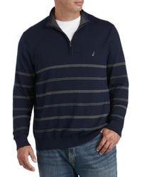 Nautica Big & Tall 1 4-zip Stripe Sweater - Blue