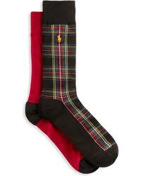 Polo Ralph Lauren Big & Tall 2-pk Tartan Socks - Black