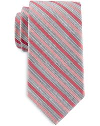 Geoffrey Beene Big & Tall Stripe Tooth Tie - Red