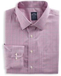 Brooks Brothers Big & Tall Non-iron Glen Plaid Stretch Dress Shirt - Pink