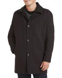 Calvin Klein Big & Tall Herringbone Zale Overcoat - Black